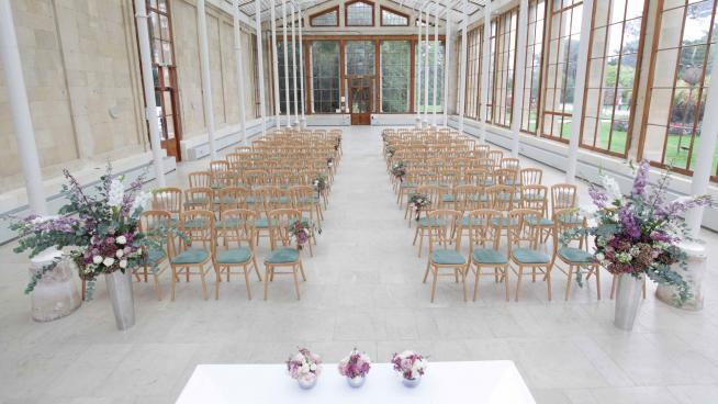Nash Conservatory set up for wedding ceremony