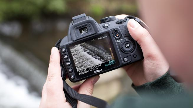 Close-up of digital camera screen