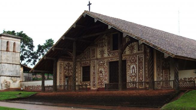Image showing A decorative Church at the Jesuit mission in San Miguel, this mission was founded in 1722.