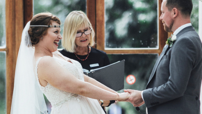 Wedding ceremony in the Nash Conservatory