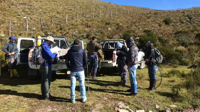 Image showing the team Preparing for fieldwork, in rain or shine
