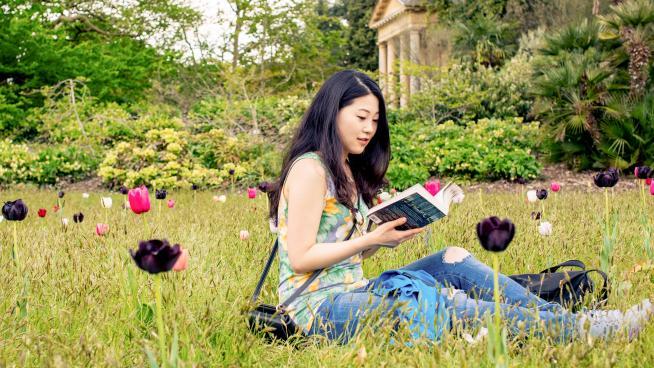 Reading among tulips