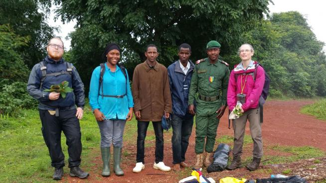 image showing Fieldwork with Kew MSc student Olly Hooper on a wet day in June 2017.