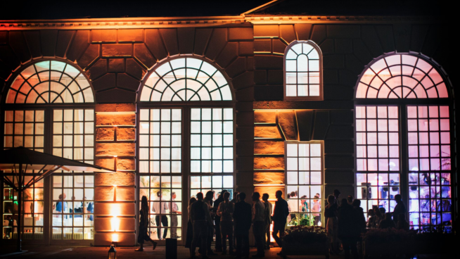 Orangery exterior at nighttime