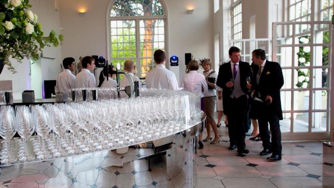 A bar set up in the Orangery in preparation for a wedding