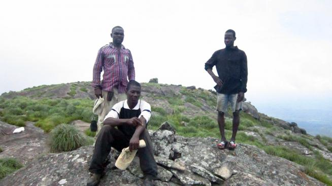 image showing One of our fieldwork leaders, Pepe Haba and Team at Mt Konosso, Guinea Forestière. October 2017.