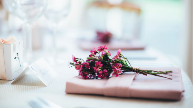 Place setting for wedding