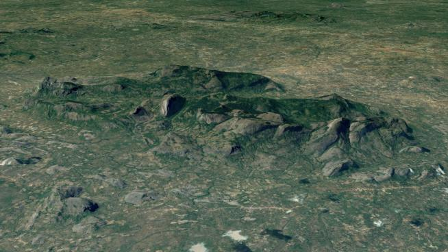 Image showing a snapshot of the Ribaue Massif from Google Earth: 2018 DigitalGlobe imagery