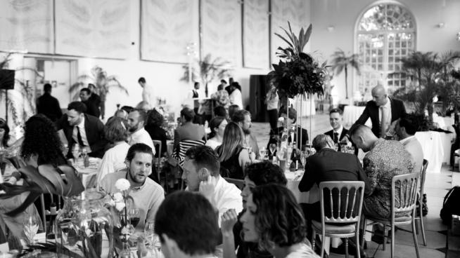 Wedding guests in Orangery
