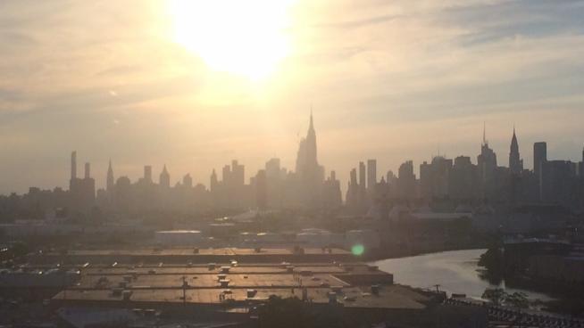 image showing the New York sunset skyline