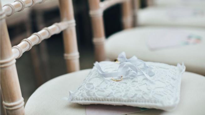 Wedding rings on chair