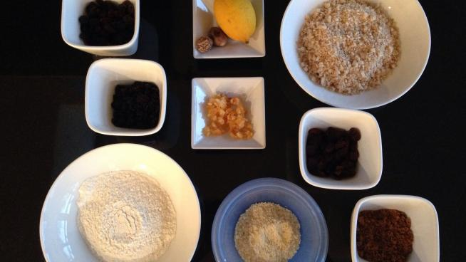 Image of the ingredients for the Christmas pudding