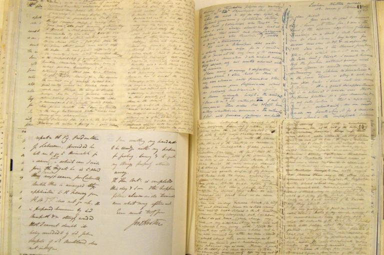 Photo of some letters sent from Joseph Hooker to George Bentham