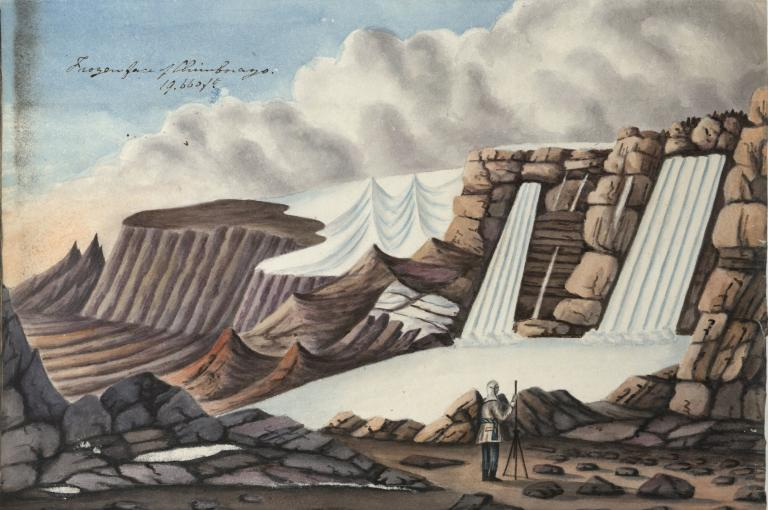 The frozen face of Chimborazo at 19,660ft with detail (right) from 'Excursions near Quito, Ecuador 1831'