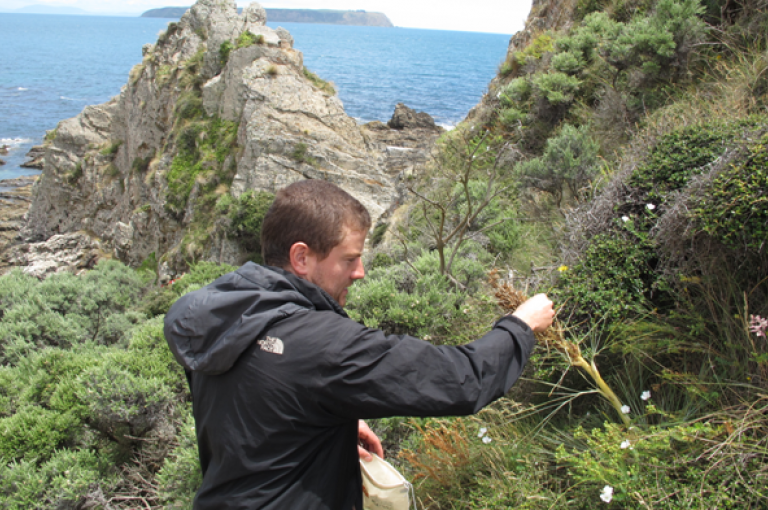 Photo of Finn Michalak collecting seeds in New Zealand