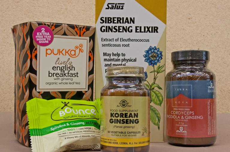 Image showing some of the many products sold containing 'ginseng'. Some of these have scientific names listed on the packaging, but this is not always the case.