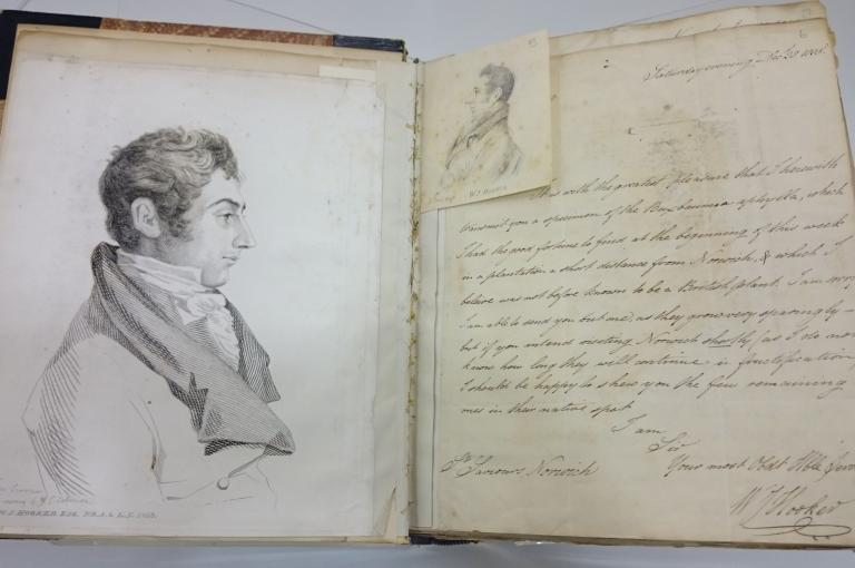 Photograph of Hooker by Dawson Turner from a drawing by J. S. Cotman and letter from Hooker