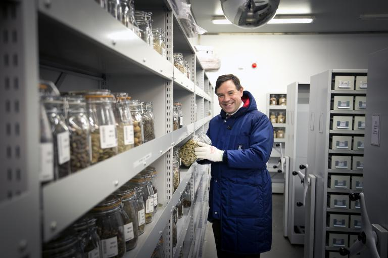 Image showing MP for Horsham Jeremy Quin MP banking Crop Wild Relative seeds