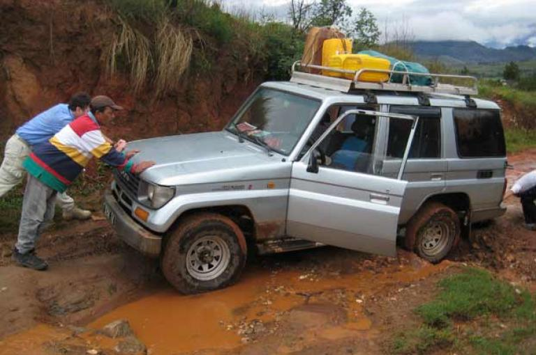 Expedition vehicle stuck in mud