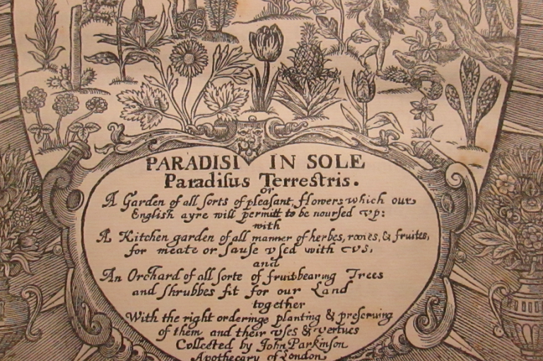 Picture of Title page of Paradisi in sole paradisus terrestris (John Parkinson, 1629).