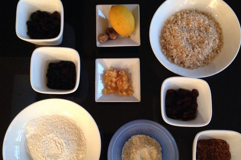 Botanical ingredients of a Christmas pudding (Photo: M. Fay)