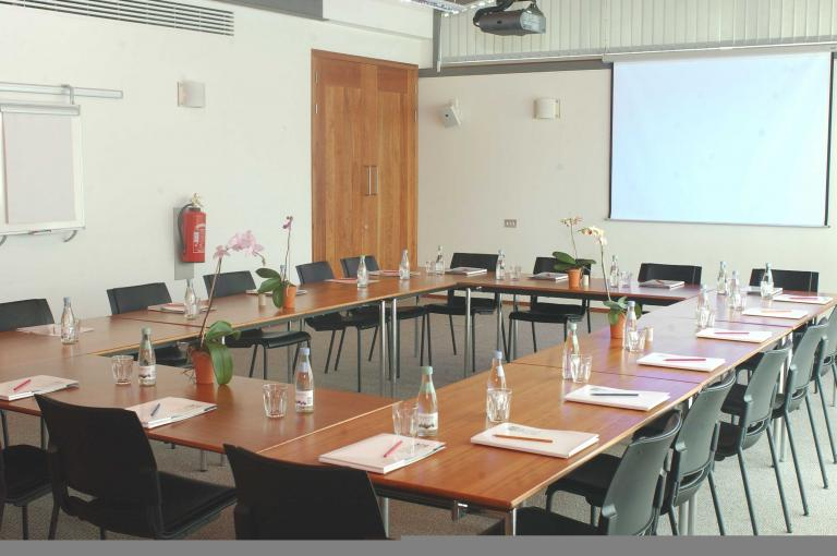 The Orangery Conference Room ready for a meeting
