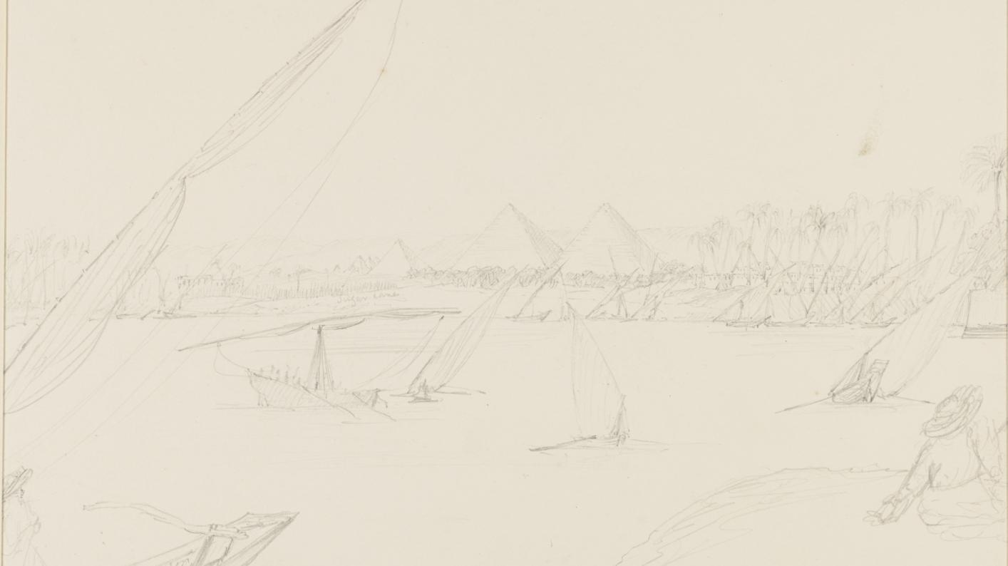 Pencil sketch of the Pyramids by JD Hooker, from the Cairo side of the Nile.