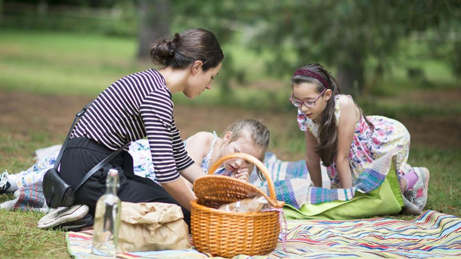 A family picnic near the Woodland House