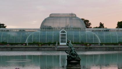 View of the Palm House at sunset