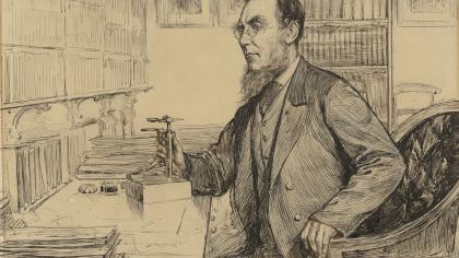 Sketch showing JD Hooker in his office
