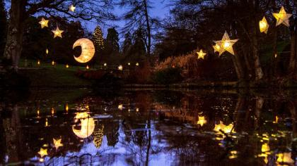 Moon and star lanterns at Glow Wild, Wakehurst