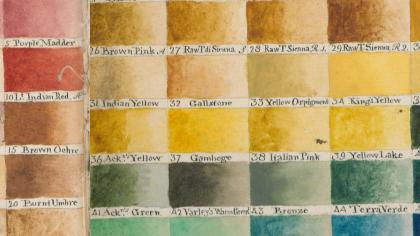 Detail from a colour sample sheet painted by William Burchell