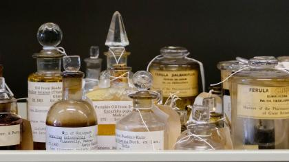 Jars of old oils found in Kew's Economic Botany Collection