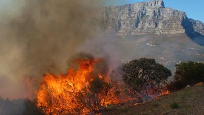 Fire on Signal Hill in Table Mountain National Park