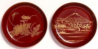 Two round Chinkinbori trays
