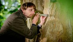 Alex Metcalf listening to a tree, Jim Holden