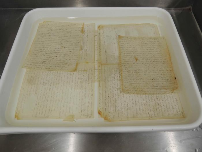 Pages from the Journal being treated to stabilise the ink.