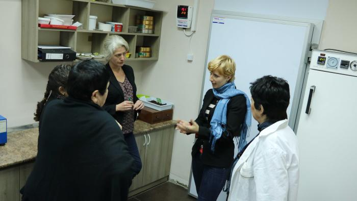 Image showing Elinor Bremen and Emma Seal delivering training on dry room use to NBG staff