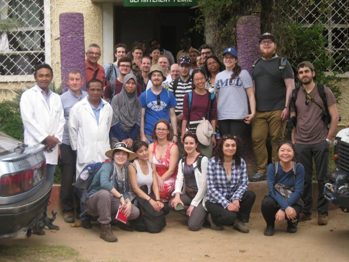 Image showing students and staff from Kew & QMUL alongside staff from the herbarium and natural history museum at the National (TAN) Herbarium of Madagascar at Parc Botanique et Zoologique de Tsimbazaza, Antananarivo
