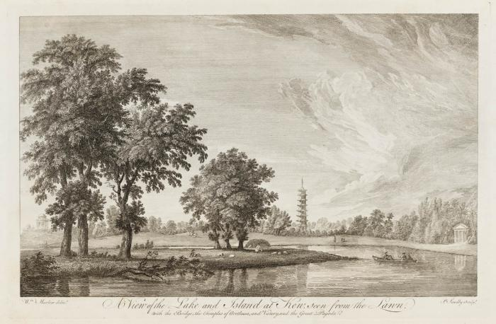 Photo of 'A View of the Lake and Island at Kew, seen from the Lawn' by William Marlow (1740–1813). Engraving