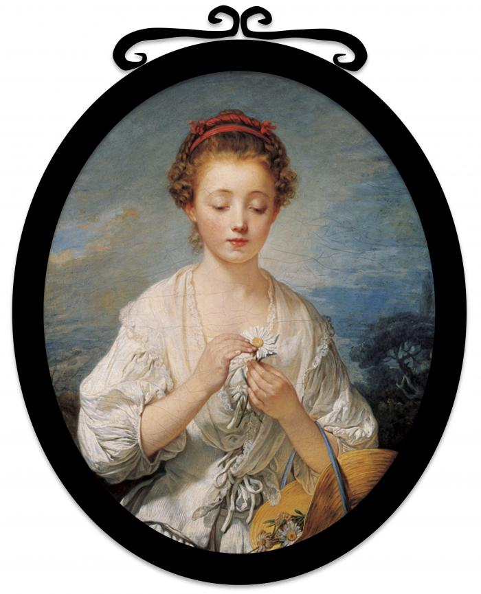 """Figure 1: 'La Simplicité (Simplicity)', oil on canvas painting by Jean-Baptiste Greuze, 1759, Kimbell Art Museum, showing a lady playing """"He loves me… he loves me not""""."""
