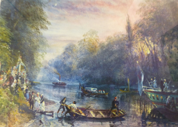 Photo of a watercolour painting by Fitch of the Thames near Kew.