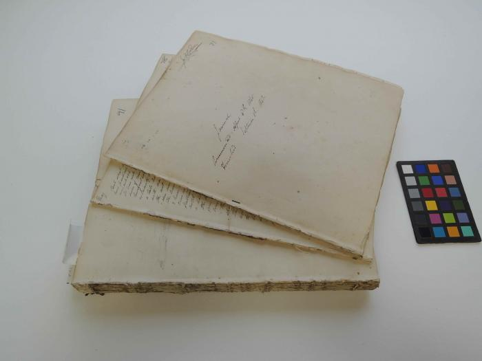 The Journal unbound showing the different 'volumes' or 'parts' contained within the 20th century binding.
