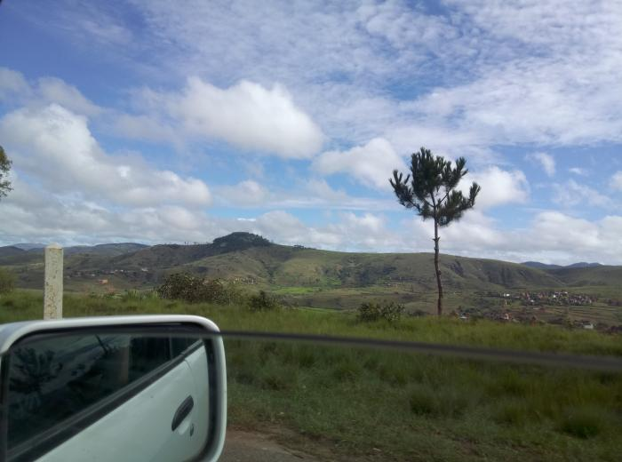 Image showing clear signs of deforestation in the western highlands of Madagascar. The patches of trees in the background are probably pine plantations