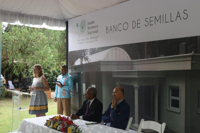 Image showing Tiziana Ulian speaking at the inaugural ceremony of the new JBN seed bank