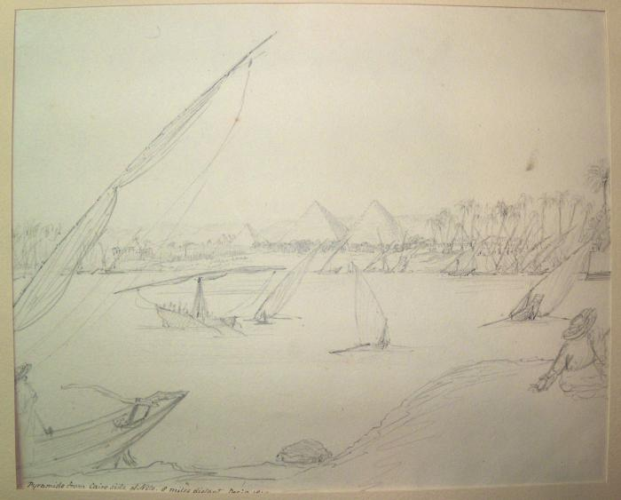 'Pyramids from the Cairo side of the Nile. 8 miles distant Dec 9th 1847', pencil sketch by Joseph Hooker, 1847