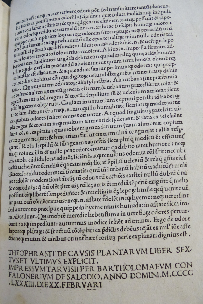 Photo of a page from the 1483 edition of Theophrastus' works.