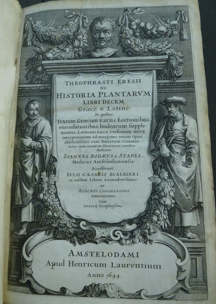 Photo of the elaborate title page of a 1644 edition of Theophrastus' works.