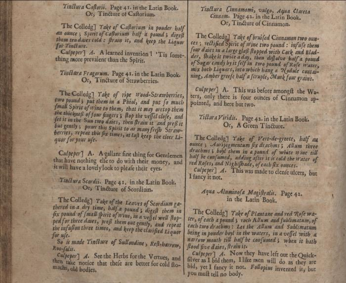 Pharmacopoeia Londinensis : or the London dispensatory, by Nicholas Culpeper, London : printed for Peter Cole, 1649, p. 70.