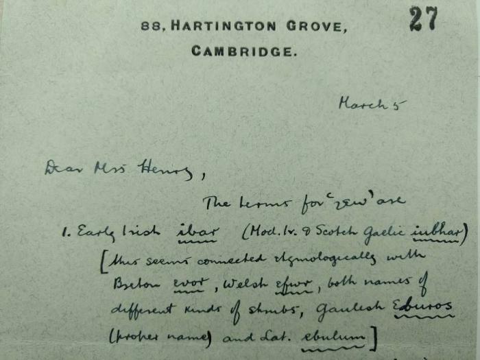 Letter addressed to Mrs Henry